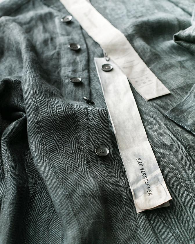 BIEK VERSTAPPEN リネンヘリンボーンシャツ BLUE